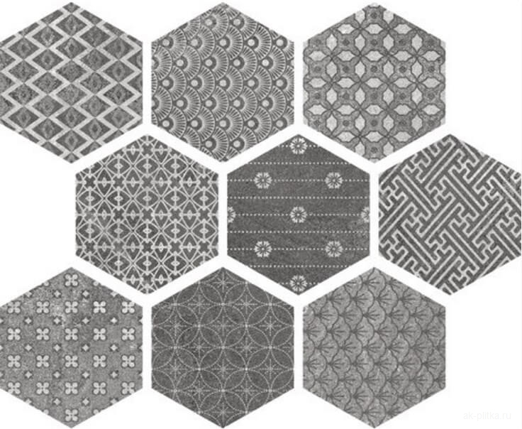 Ape Ceramica Soft Hexagon Kendo Mix Grey Керамогранит